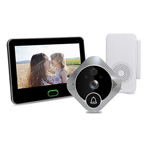 XXHDEE Cámara de Timbre de Video inalámbrico 1080p, detección de Movimiento, Gran Angular, visión Nocturna, Seguridad de Audio de 2 vías y fácil instalación
