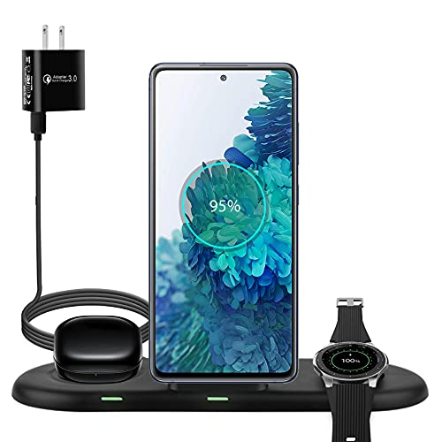 3 in 1 Wireless Charging Station for Samsung Multiple Devices, Fit for Galaxy Watch 3 1 Active 2 1 Gear S3 Sport, Galaxy Buds Pro Live, Galaxy S21 S10 Note 20 Ultra Fast Wireless Charger Dock Stand