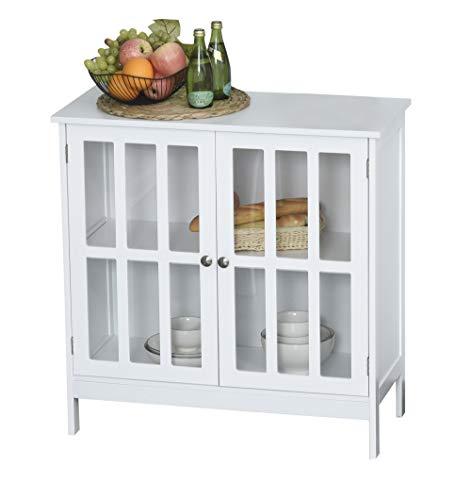 kleankin Küchenschrank Vitrine mit 2 Türen Vitrinenschrank Badezimmerschrank MDF Acryl Weiß 80 x 36 x 80 cm