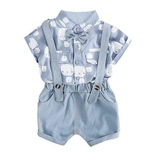 LOPILY Conjunto De Camisa De Verano Tops Pantalones De La Correa+ Bowtie De Los BebéS NiñO, Animados Osos Estampado Camiseta De Manga Corta Trajes