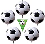 Vision Soccer Large 4D Sphere 22' Helium Foil 5 Pcs Birthday Party Balloons, 100 Inch Pennant Soccer Banner. Football Foil Soccer Ball Balloons for Sports Games Soccer Kids Theme Birthday Party Decoration