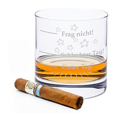 Leonardo Whiskyglas mit Gravur - Schlechter Tag, Guter Tag - Frag nicht! - Geschenke für Whiskyliebhaber - Whiskygeschenke - Whisky Glas - Witzige Geschenke & Originelles Whiskey Glas