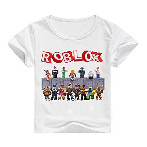 Roblox Camiseta Camisas de Vestir de Estilo Sencillo para el Desgaste de los niños Mangas Cortas Fibra de bambú Elástico Camisetas elásticas niños