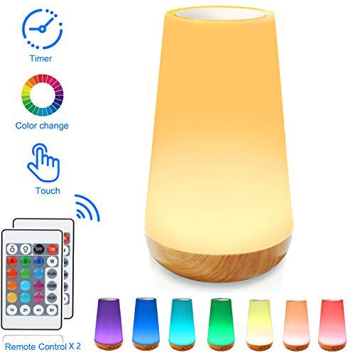 Veilleuse LED, Lampe de Chevet Colorée à 360°, Lampe Nuit Rechargeable avec Toucher Luminosité Ajustable Télécommande pour chambre à coucher, chambre d'enfant, et salon