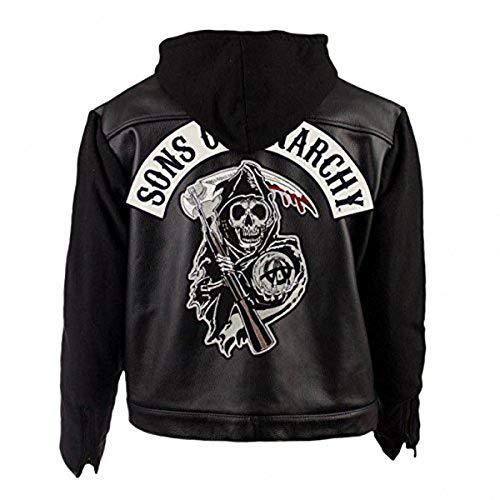 Sons of Anarchy Highway Chaqueta de cuero sintético con capucha negra