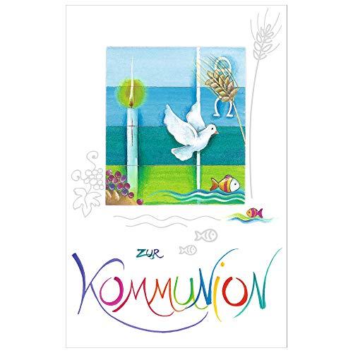 Susy Card 40024776 wenskaart communie, Jezus & Vrouw duif, kaars