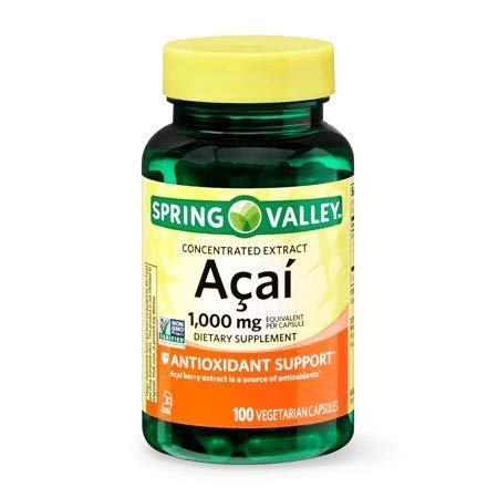 Spring Valley Concentrated Acai Extract 1,000 mg, Antioxidant Support, 100 Vegetarian Capsules