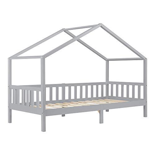 Kinderbett Kongsvinger 90x200 cm Rausfallschutz und Stauraum Bettenhaus Kiefernholz Hellgrau
