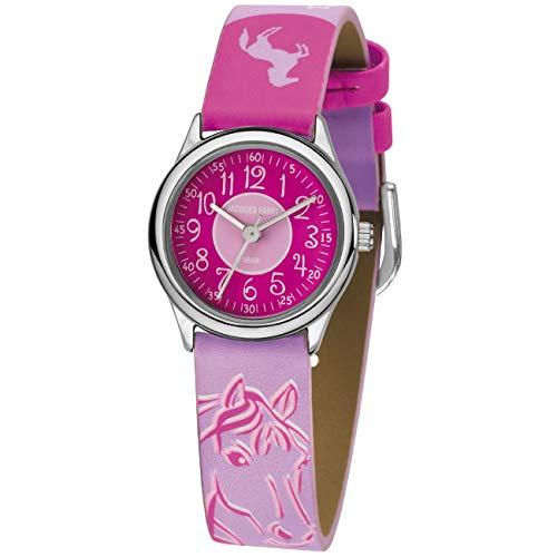 JACQUES FAREL Kinder-Armbanduhr Pferd Sterne rosa-pink Analog Quarz Metall Kunstleder HCC 312
