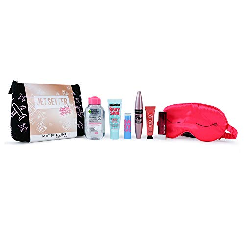 Maybelline Makeup Gift Set, Jet Setter: Primer, Mascara, Lipstick, Blusher & Micellar Water Gift Set Travel Kit For Her