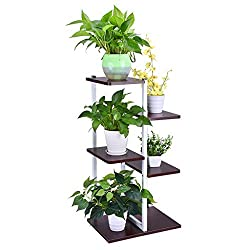 shamoluotuo Plant Stand Shelf Iron Art Corner Square Floor Rack Living Room Balcony Furniture Steel Wood Flower Stand Storage Box Partition Landing (Red, 16.5×7.8×31.5in)