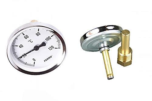 Rear Entry Thermometer - Alcofermbrew Termómetro bimetálico de Entrada Trasera, 0-120 °C...