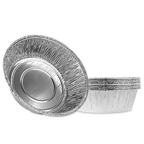 Plasticpro 25,4 cm große, runde und tiefe Zinnfolie-Pfannen aus Aluminium, gefrier- und ofenfest, zum Backen, Kochen, Aufbewahren, Braten, Aufwärmen, 10 Stück