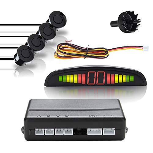 EINFEBEN Einparkhilfe Rückfahrwarner PDC + LED Farb Display KFZ Summer 4 Sensoren 4 hinten