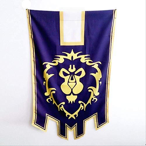 PXNH World of War craft Alliance Horde Banner Flag Dacron Blue Decoración para el hogar Cosplay Accesorio 96x64cm Alliance