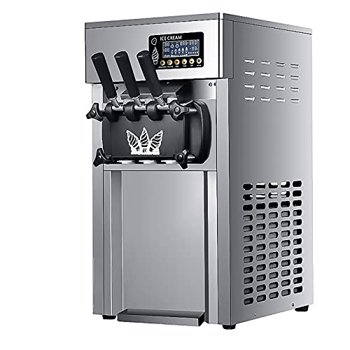 220V 1200W Commercial Ice Cream Machine, 18L/H Stainless Steel Freezing Tank, Sand Frozen Beverage Machine, Three-Color ice Cream Machine is Very Suitable for ice Juice, Tea and Coffee Making