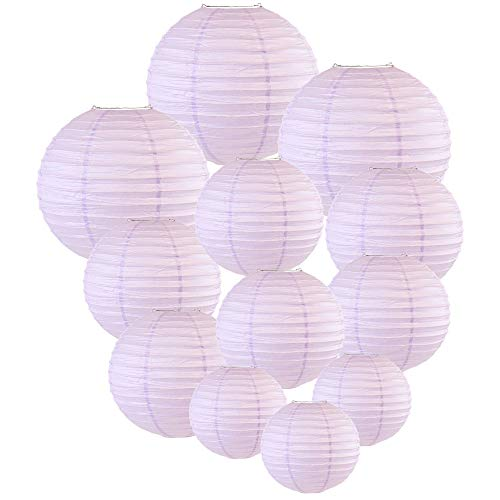 Just Artifacts Decorative Round Chinese Paper Lanterns 12pcs Assorted Sizes (Color: Lavender)