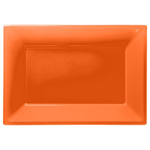 amscan - Confezione da 3 Piatti da Portata in plastica, Colore: Arancio