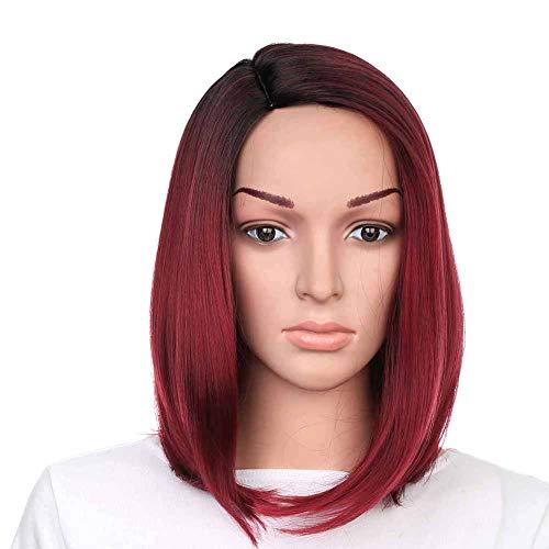 dljztrade Perruque Synthétique Fibre Haute Température Mode Rouge Dégradé Droite Matte Extension De Cheveux Postiche Pente