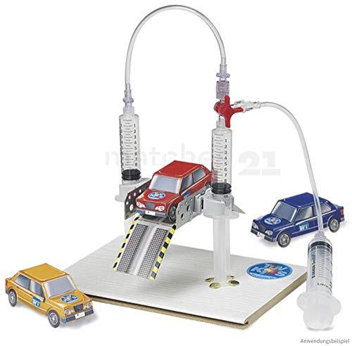 matches21 Pneumatik/Luftdruck Hebebühne Modell einfacher Bausatz Bastelset Werkset für Kinder Lehrmittel ab 8 Jahre