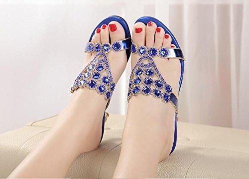 GTVERNH-Sommer - Mode Schuhe Süß Und Fein Hacken High Heels Coole Schuhe Schuhe Wasser Bohren,37,Blau