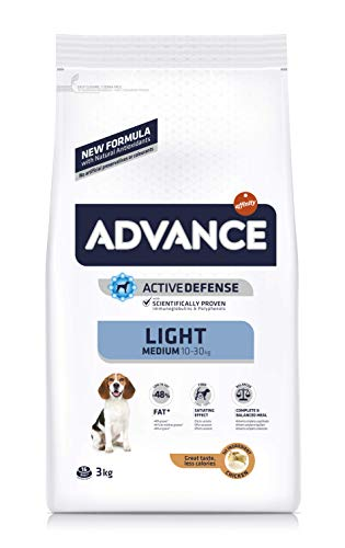 ADVANCE Light Medium Adult - Pienso Light para Perros Adultos de Razas Medianas - 3 Kg