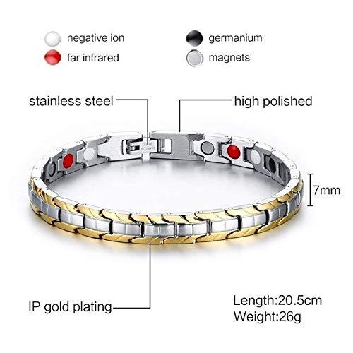 JYHW Meaeguet 7 mm de Ancho Terapia magnética Pulsera magnética Pulseras eléctricas...