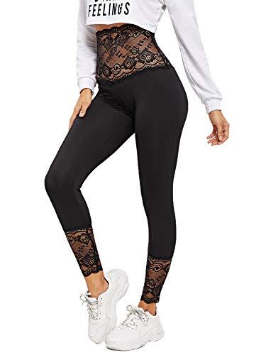 Soly Hux - Leggings deportivos para mujer, cintura alta, con encaje Negro  XL