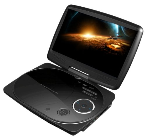 Impecca DVP916K 9 Inch Swivel Screen, Portable DVD Player with Rechargeable Battery, SD Card Slot and USB Port, Black