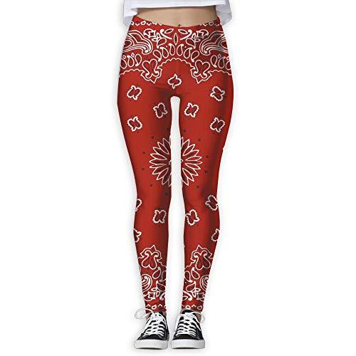 Red Bandana Pattern Women's Funny Print Yoga Leggings Pants Exercise Capri Leggings Workout Pants Gym Tights