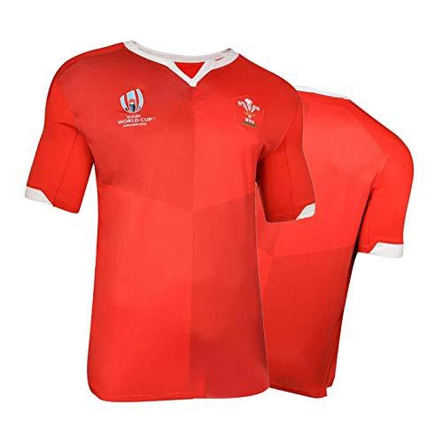 Rugby-Trikot 2019 Wales Weltmeisterschaft Rugby-Trikot,Wales Herren Fußballtrikot Sportpoloshirt Kurzarm Polyesterfaser-Top-Mesh-Schnelltrocknung red-M