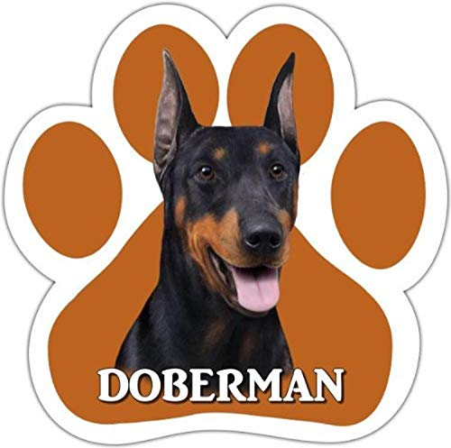 E&S Pets Doberman Auto-Magnet mit einzigartigem Pfotenform-Design, Maße: 13 x 13 cm, mit hochwertigem UV-Glanz für Wetterschutz