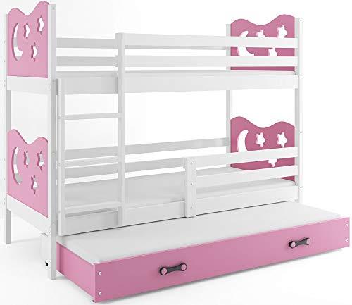 Interbeds Etagenbett Miko 3 (für DREI Kinder) 190x80cm Farbe: Weiβ + 2. Farbe zur Wahl; mit Matratzen und Lattenroste (rosa)