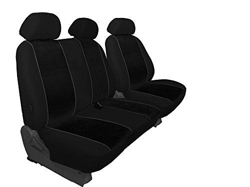 Für T5 maßgefertigter, modellspezifischer Sitzbezug Fahrersitz + 2er Beifahrersitzbank in VELOURS schwarz