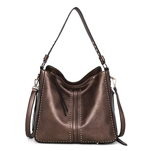 Montana West Leather Hobo Bags for Women Bronze Large Handbags Concealed Carry Studded Ladies Shoulder Bags