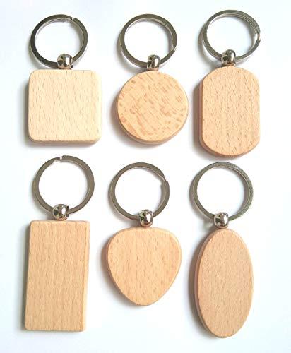 Pioneerclan DIY Blanko Holzschlüsselanhänger, personalisierbar, EDC Holz, 6 Stück