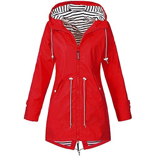 Chaqueta de lluvia para mujer, cortavientos, impermeable, con cordón, cremallera, capucha y forro transpirable, para primavera, verano y otoño A-rojo. XL