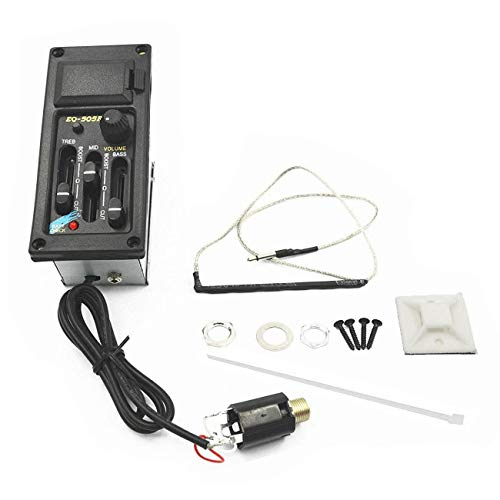 JVSISM Eq-505R Piezo Fonocaptor Ecualizador Amplificador Preamplificador de 3 Bandas de Guitarra Acústica