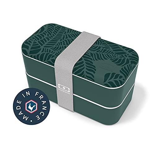monbento - MB Original Jungle bento Box Vert Made in France - Lunch Box hermétique 2 étages - Boîte Repas idéale pour Le Travail/école - sans BPA - Durable et sûre