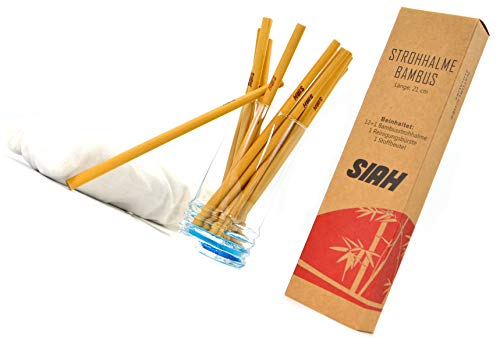 SIAH · 12+1 Bambus Strohhalme Set mit Reinigungsbürste und Travelbag – Umweltfreundliche Naturstrohhalme · BPA frei · Spülmaschinenfest · Wiederverwendbare Trinkhalme für Cocktails & Smoothies