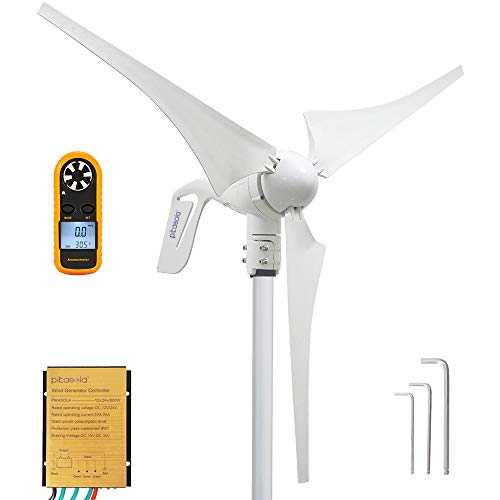 PIKASOLA Wind Turbine Generator 400W 12V with 3 Blade 2.5m/s Low Wind Speed Starting Wind Turbines...