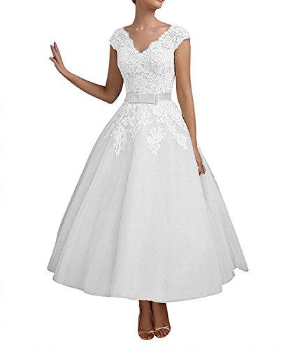 Charmant Damen Spitze Wadenlang Abendkleider Brautmutterkleider Partykleider A-Linie Lang Festlichkleider -38 Weiss