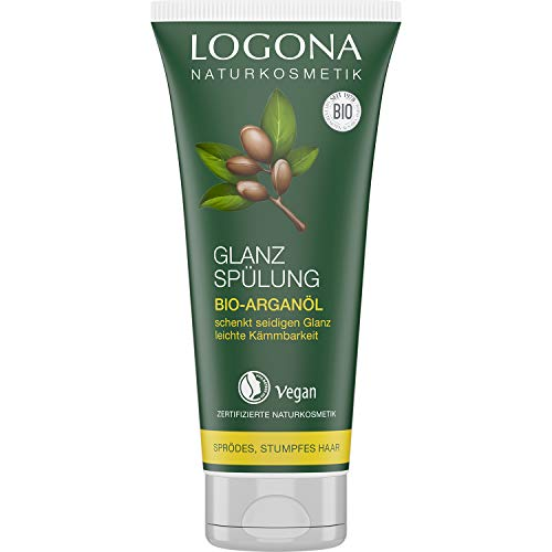 Logona natural cosmetic shine conditioner, organic argan oil, protects brittle, dull hair and gives silky shine, valuable oils, vegan, 200 ml