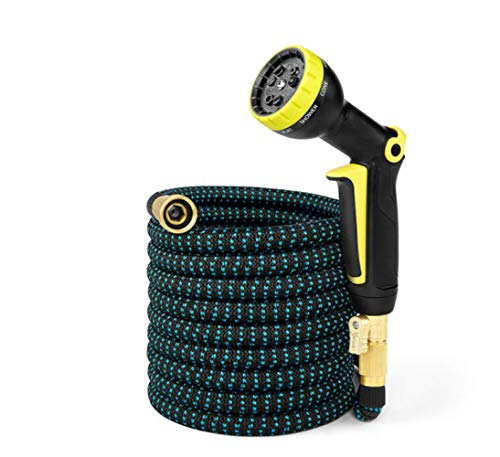 Inshere Upgraded Expandable Garden Hose Stretchable Magic Water Hose for Outdoor Garden Lawn Car Full Set Ready (25ft)-Green (Black)