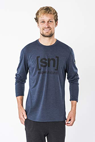 Supernatural Essential I.D. Longsleeve Haut à Manches Longues Homme, Blue Iris Melange/Jet Black Logo, FR : M (Taille Fabricant : M)