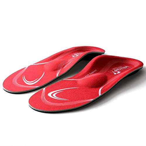 walkomfy Plantillas Ortopedicas para Hombre y Mujer, Memory Foam Plantillas para Zapatos, para aliviar la Fascitis Plantar, Supinador, Pie Cavo, Pies Planos, Metatarsalgia (38-39 EU (250mm), rojo)