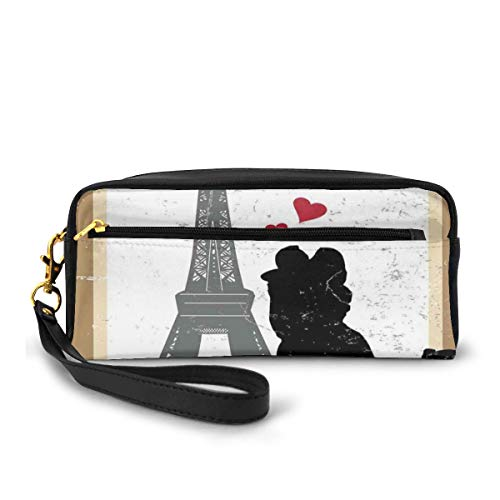 Pencil Case Pen Bag Pouch Stationary,Silhouette of A Kissing Couple and Hearts with Eiffel Tower Icon Grunge Effect,Small Makeup Bag Coin Purse