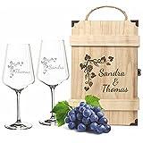 FORYOU24 2 Leonardo Weingläser Puccini mit Gravur - Holz Vintage Weinkiste - Motiv Weinranke - zur Hochzeit Geschenkidee Wein-Gläser graviert