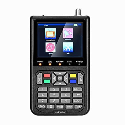 Localizador de Señal Satélites digital compatible con DVB-S / S2 y H.265, ETE ETMAT Medidor buscador de satélite V9 con pantalla LCD de 3,5 pulgadas, batería de 3000 mAh para TV Señal Find.