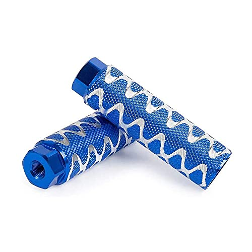 JINYOMFLY Bike Pegs,BMX Pegs for Mountain Bike Cycling Rear Stunt Pegs Fit 3/8 Inch Axles,2 Pcs of Aluminum Alloy Non-Slip Lead Foot Bicycle Spikes (Azul)